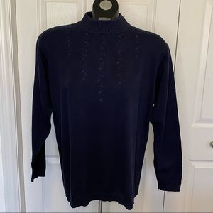 Lauren Jeffries Mock Neck Light Cotton Sweater Med